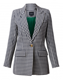 Navy and White Check Blazer
