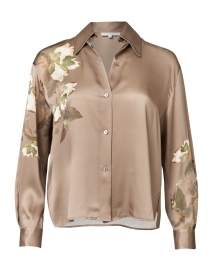 Taupe Floral Printed Silk Button Down Blouse