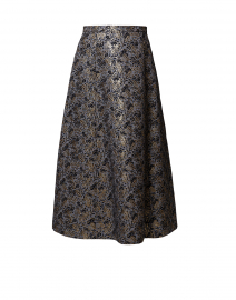 Liuto Black and Gold Floral Jacquard Skirt