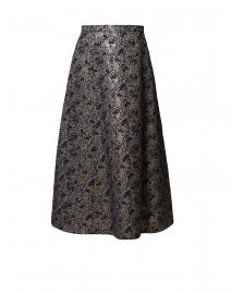 Liuto Black and Gold Floral Jacquard Skirt