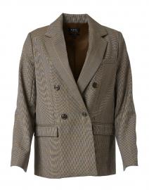 Beige and Light Blue Houndstooth Wool Blazer