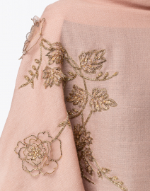 Janavi - Pink Floral Sequined Embroidered Wool Scarf