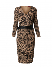 Axe Camel and Black Leopard Printed Jersey Dress