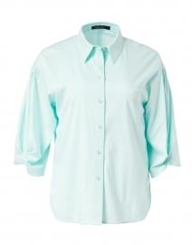 Aqua Cotton Button Down Blouse