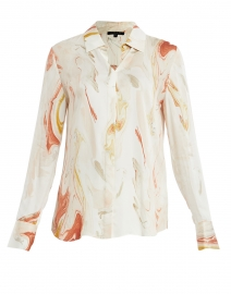 Scottie Pink and White Geode Print Silk Shirt