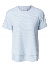 Southcott - Clifton Powder Blue and White Micro Stripe Cotton Jersey Tee