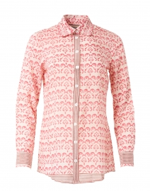 White And Pink Block Print Button Up Shirt