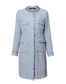 Zibello Light Blue Tweed Coat with Fringe