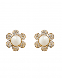 Clara Crystal and Pearl Flower Stud Earrings