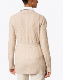 Kinross - Beige Cable Knit Cashmere Cardigan