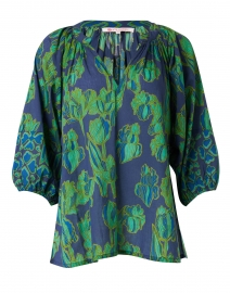 Marcia Emerald and Navy Tulip Printed Top