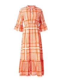 Fleur Orange Tile Mosaic Printed Cotton Midi Dress with Bell Sleeves
