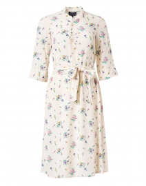 Oleson Ivory Floral Printed Crepe Shirt Dress