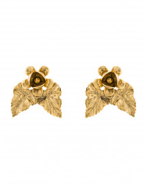 Carmela Gold Flower and Leaf Stud Earrings