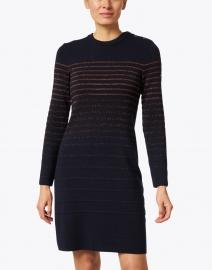 Saint James - Diamant Navy and Bronze Lurex Striped Dress