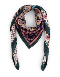 Calore Multi Tile Print Silk Square Scarf