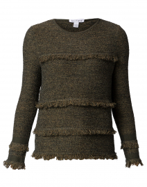 Green Boucle Fringe Trim Cotton Sweater
