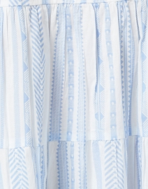 Sail to Sable - White and Blue Jacquard Stripe Cotton Dress