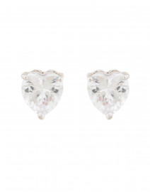 Solitaire Crystal Heart Studs