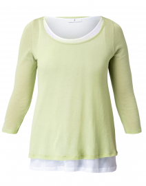 Light Green and White Cotton Double Layered Top