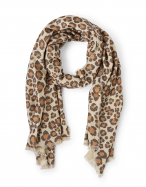 Brown Animal and Paisley Printed Cashmere Reversible Scarf