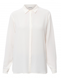 Ivory Button Down Silk Blouse