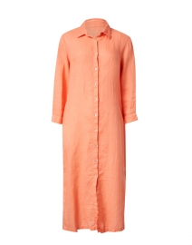 Sunset Orange Linen Shirt Dress