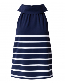 Navy Blue and White Striped Ponte Top