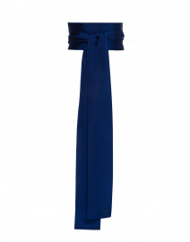 Blue Wide Satin Ribbed Belt