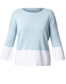 Light Blue and White Cotton Sweater