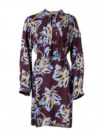 Deep Plum Camel and Blue Floral Dress