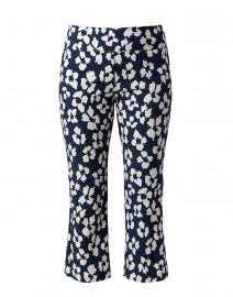 Navy and White Crinkled Floral Print Pant