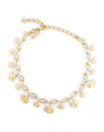Gold and Pearl Ginkgo Necklace