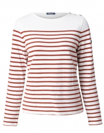 Huez Ivory and Rust Striped Cotton Sweater