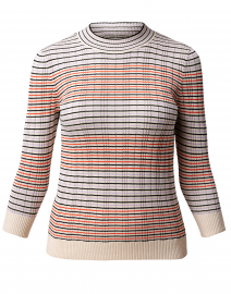 Red and Cream Fine Striped Silk Cotton Sweater