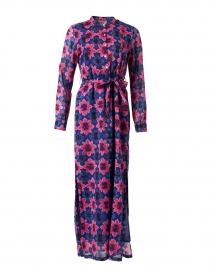 Crystal Pink and Blue Shibori Cotton Voile Dress