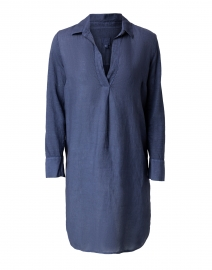 Dark Navy Linen and Jersey Dress