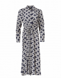 Navy and White Geometric Printed Crepe Shirt Dress