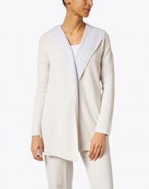 Kinross - Desert Beige and Grey Reversible Cotton Cashmere Cardigan