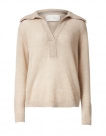 Bree Beige Cashmere Henley Sweater