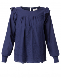 Navy Embroidered Cotton Eyelet Top