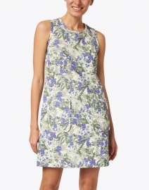 Tara Jarmon - Rippi Blue, Green and White Floral Linen and Cotton Dress