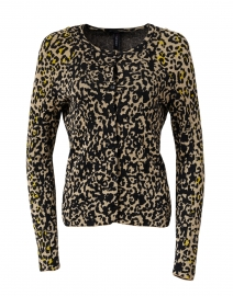 Yellow and Black Animal Print Cardigan