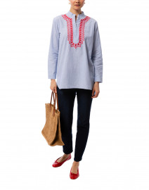 Ro's Garden - Silvie White and Blue Pinstriped Cotton Kurta Top