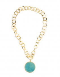 Amazonite and Gold Hammered Chain Necklace
