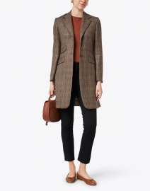 T.ba - Camel and Red Plaid Wool and Cashmere Coat