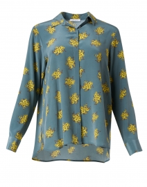Baltic Blue and Yellow Floral Silk Blouse