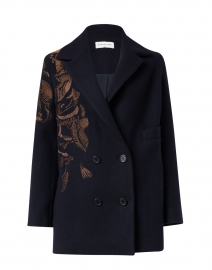 Zuri Navy Wool Blazer with Copper Lurex Embroidery