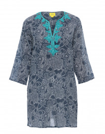 Dihn Meena Navy Embroidered Cotton Tunic