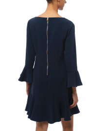 Sail to Sable - Navy Flounce Stretch Crepe Dress